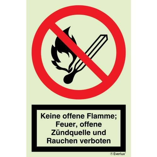 Verbots Zeichen Feuer, offenes Licht, Rauchen verboten SN EN ISO 7010