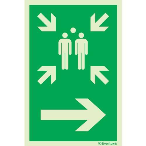 Rettungszeichen Symbole Sammelstelle rechts