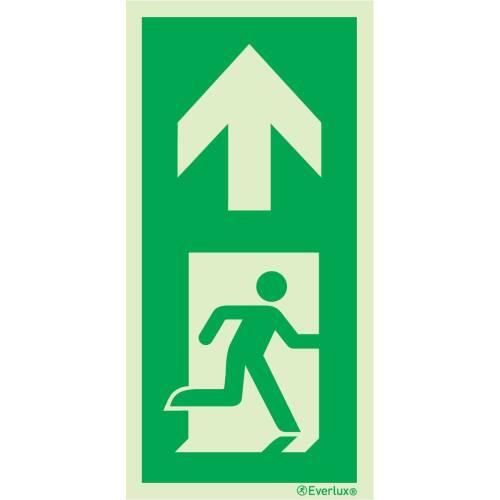Rettungszeichen geradeaus durch Tür Pfeilermontage