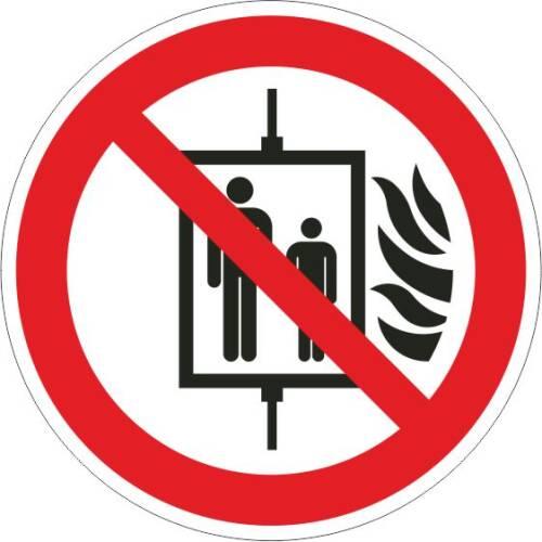 Verbotszeichen -Aufzug im Brandfall nicht benutzen ISO 7010